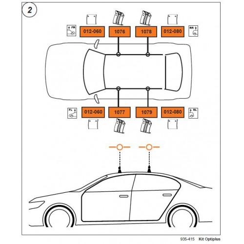 Rysunek poglądowy z instrukcji montażu. KIT Cruz 935-415 Skoda Octavia 4/5dr 2004-2013