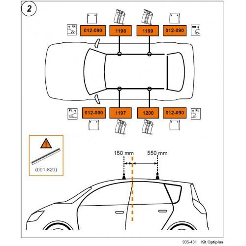 Rysunek poglądowy z instrukcji montażu. KIT Cruz 935-431 Citroen C4 Grand Picasso 07-13